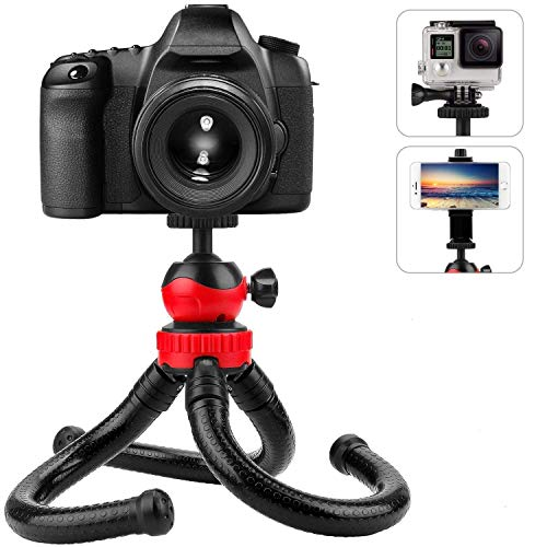 "LXCN® Red Black Flexible Ball Head Tripod 12"" Inch Foldable Extra Thick & Strong for All Smartphone,Action & DSLR Camera's for Use Photography, Video Recording Tiktok Vlog etc."