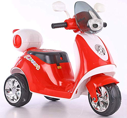 MunMun Toys Baby Scooter Battery Operated Ride on Bike with Music and Light (Red) MMT-04-106