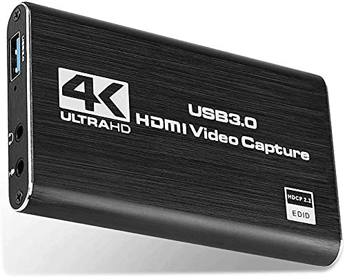 Microware Game Capture Card, 4K USB 3.0 HDMI Video Capture Card with HDMI Loop-Out 1080P 60FPS Live Streaming Game Recorder Device, Compatible Windows Linux OBS OS X Twitch for PS3 PS4 (Update Black)
