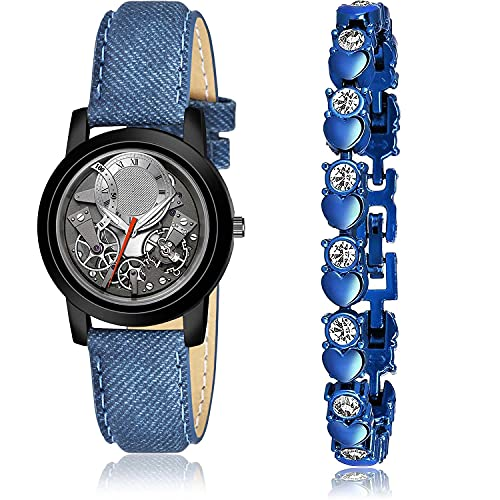 NEUTRON Luxury Bracelet and Watch Combo Analogue Grey and Blue Color Dial Women Watch - (9-L-2)-GX2 (Pack of 2)