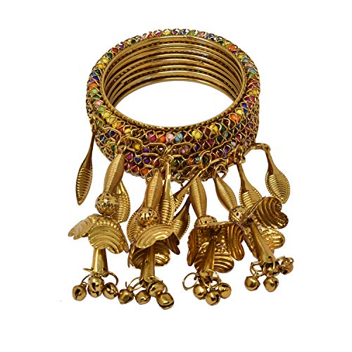 Steorra jewels Golden Oxidised German Afghani Traditional Kalira Latkan Ethnic Kada Antique Latest Bangle for Weddings - Set of 5