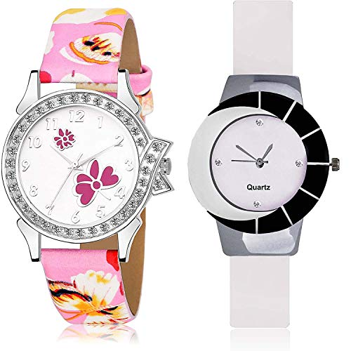 NEUTRON Flower Analog White Color Dial Women Watch - G492-G11 (Pack of 2)