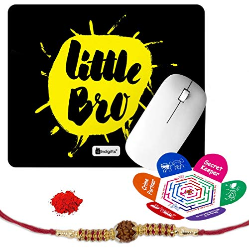 Indigifts Rakshabandhan Gifts for Brother Little Bro Quote Printed Mouse Pad 8.5x7 inches, Rudraksha Rakhi, Roli & Greeting Card - Rakhi for Brother with Gifts, Raksha Bandhan Gifts, Rakhi Gifts for Brother