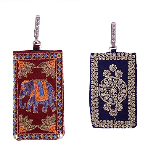 JprHouse Rajassthani Handmade Embroidered Mobile Cover For Women | Printed Mobile Pouch Bag Purse For Girls | Set Of, MultiColor