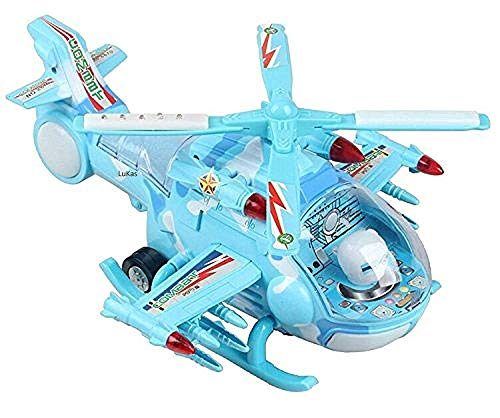 GOPANI CREATION Musical Aircraft Toy, Battery Operated Helicopter with Beautiful Attractive Flashing Lights and Realistic Sounds, Bump and Go Action Toys for Boys and Girls