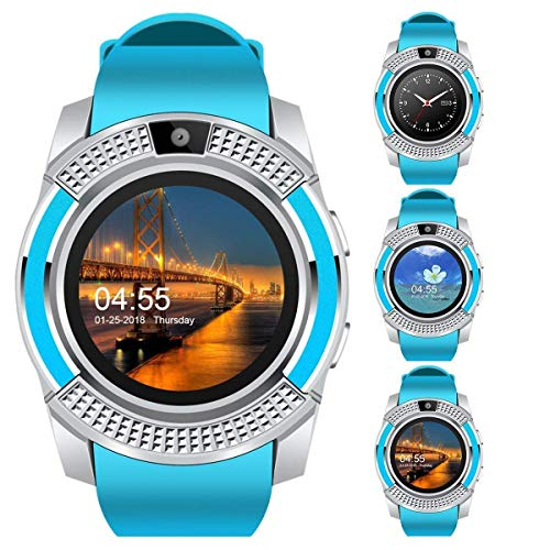 Cogear V8 Smart Watch Bluetooth Compatible with All Mobile Phones for Boys and Girls - Blue