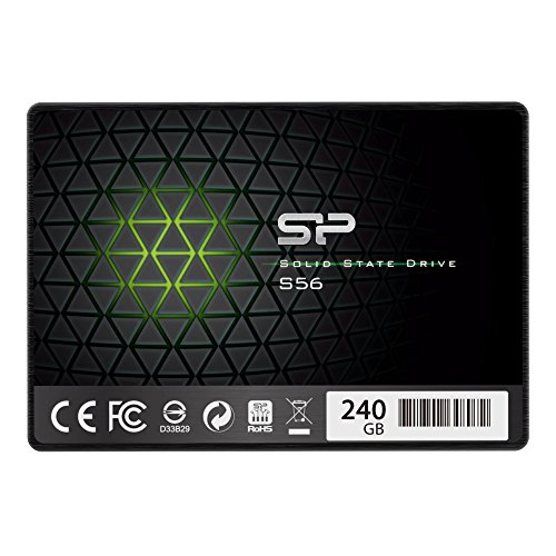 """Silicon Power 240GB SSD 3D NAND with R/W up to 560/530MB/s S56 SLC Cache Performance Boost SATA III 2.5"""" 7mm (0.28"""") Internal Solid State Drive (SP240GBSS3S56B25AZ)"""