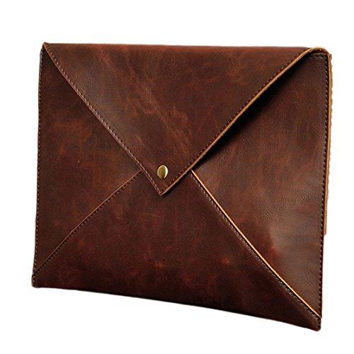 NUBEN Men's Bags Envelope Clutch Shoulder Bag Ipad Synthesis Cowhide 1 M US Brown