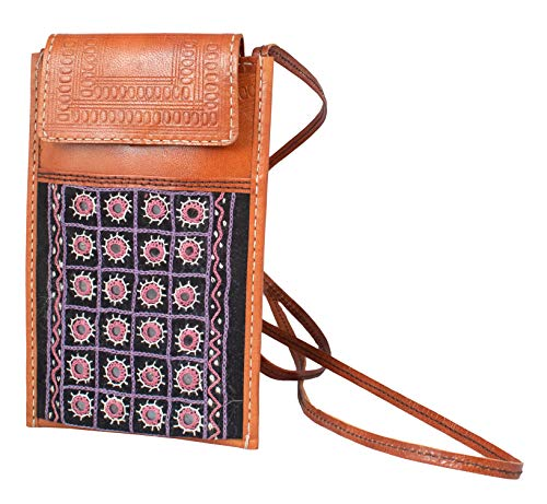 Ethnics of Kutch Pure Leather Aabhala Work Embroidery Leather Craft MOBILE COVER EK-MBC-0021 Pink (20 13 1)