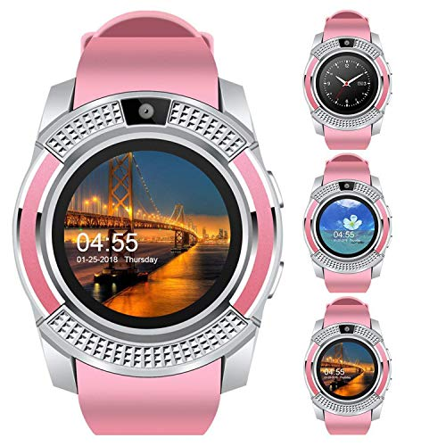 IIK COLLECTION Bluetooth V8 (4G and SIM Card Support) Smart Wrist Watch with Monitoring Display, Camera and Pedometer Health Features for Boys and Girls - Rose Gold (IIK-SW-V8-006-Pink)