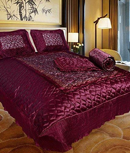 Craft Jaipur Satin Double Bed Bedding Set: 1 Bedsheet, 2 Pillow Cover, 1 AC Comforter - Pack of 4 Pieces (King Size, Maroon)