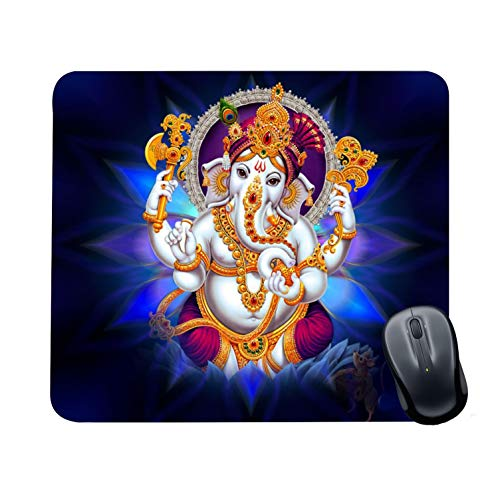 Family Shoping Year Gifts Item Office Printed Colourfull Lord Ganesha Mousepad for Computer, PC, Laptop, Blue