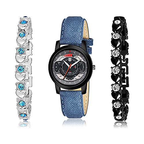 NEUTRON Collegian Bracelet and Watch Combo Analogue Grey,Silver and Black Color Dial Women Watch - (36-L-2)-GX3-GX10 (Pack of 3)