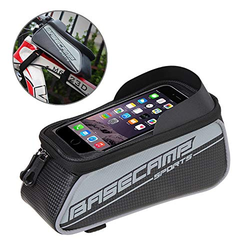AmaZeus Basecamp BC-302 Bicycle Phone Bags Mountain Road Bike Front Head Top Frame Handlebar Bag with Transparent Window & Sun Visor for 15 * 8cm and Below Smartphones, Big Size(Silver)