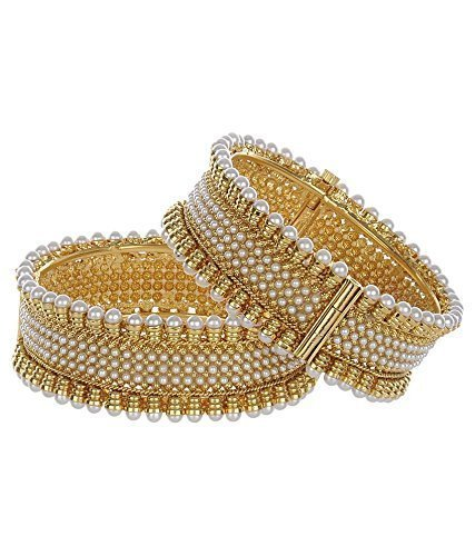 Apsara Art Jewellery Traditional Jewellery Gold Plated Pearl Bracelets Bangles Jewellery for Women and Girls