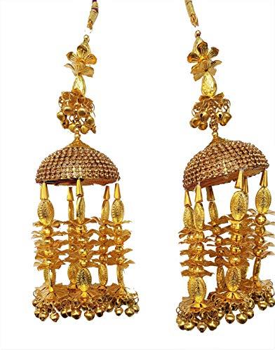 ALL INDIAN NEED Punjabi Latest Fancy Copper Golden Stone with Extra Shine Bridal Hanging kaleere/Kalira/Kaleera/Kalire/Kangan for Girls/Women/Brides. Size 10 Inch Long, 2.2 Inch Wide.