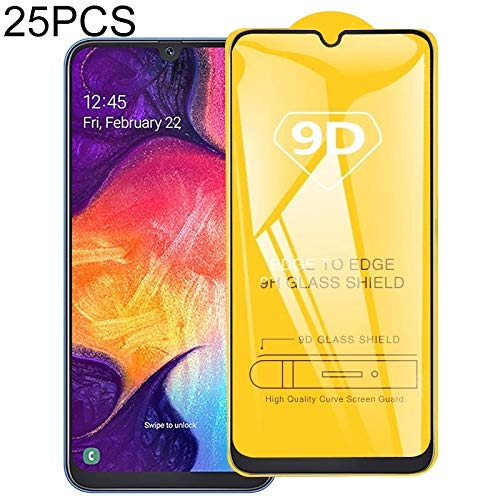 LIDGRHJTHTGRSS Mobile Phone Accessories Screen Protectors 25 PCS for Galaxy A10s 9D Full Glue Full Screen Tempered Glass Film