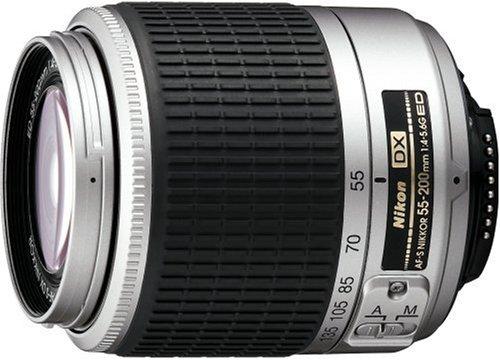 Nikon JAA793DA 55-200mm F/4-5.6G AF-S DX Telephoto Lens (Silver)