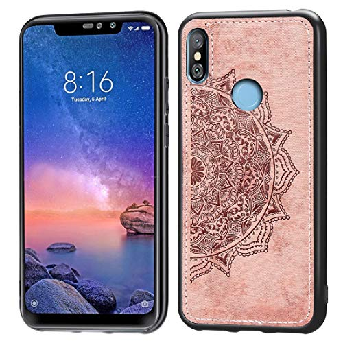 CHIXXAALLGDFD Cell Phone Covers Pressed Printing Mandragora Pattern Fabric Texture TPU + PC Shockproof Case for Xiaomi Redmi Note 6 Pro