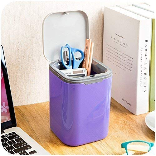 Jumix Mini Table Rocking Cover Plastic Trash Can Dustbin Sundries Car Garbage Can Desktop Trash Dust Bathroom Household Garbage Bin