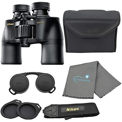 Nikon Aculon A211 8x42 Binoculars Black (8245) Bundle with a Lumintrail Cleaning Cloth