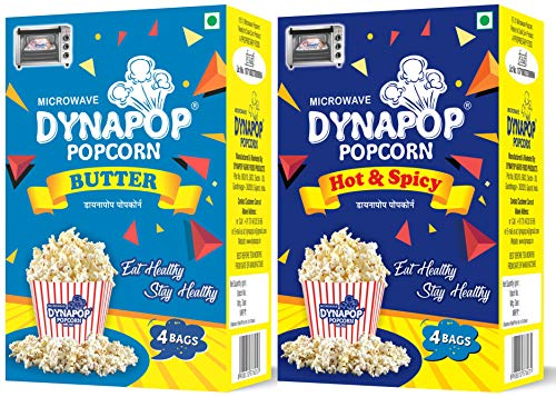Dynapop®, Microwave Popcorn, Hot & Spicy 400g & Butter Flavour 400g Combo Pack (2 x Pack of 4 x 100g)