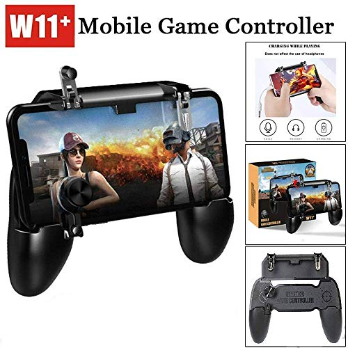 CORASS 2-in-1 W11 PUBG Mobile Remote Controller Gamepad Holder Handle Joystick Triggers L1 R1 Shoot Aim Button (Color -Black)