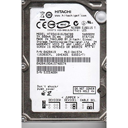 HITACHI HTS541616J9AT00 ORIGINAL Hitachi DRIVE Hitachi GST HTS541616J9AT00 0A28419 160Gb 5400RPM IDE Ultra ATA100 2.5