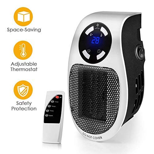 Jukkre Space Heater, Handy Plug-in Ceramic Portable Personal Compact Mini Heater Remote Controller for Home Room Office Bathroom