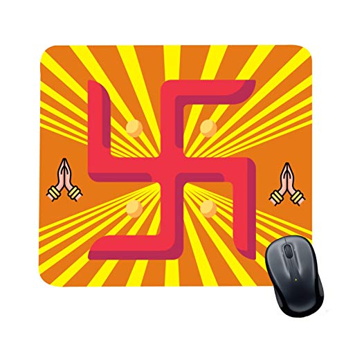 Family Shoping Year Gifts Item Office Printed Swastik Mousepad for Computer, PC, Laptop, Yellow