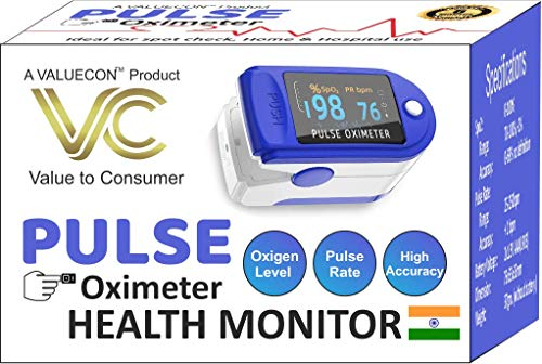 Valuecon TM Indian (Swadesi) Finger Tip Pulse Oximeter For Multipurpose Digital Monitoring Pulse Meter Rate, SpO2 with OLED Digital Display [ Free Battery included]- 1Yr Warranty