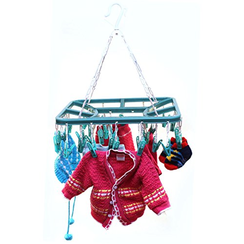 Utility TNC - 32 Clips Pure Version plastic Square Cloth Dryer/Clothes Drying Stand/Hanger with Clips (Clothes Peg)