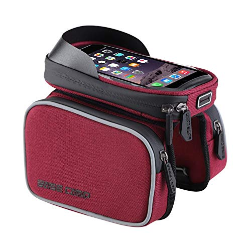AmaZeus Basecamp BC-311 Bicycle Phone Bags Mountain Road Bike Front Head Top Frame Handlebar Bag with Transparent Window & Sun Visor for 6 Inch 16x8cm and Below Smartphones (Red)