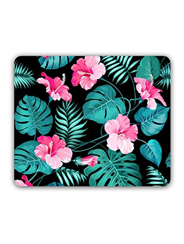 Madanyu Designer Mousepad Non-Slip Rubber Base for Gamers - HD Print - Pink Hibiscus Blooming Floral Girly Pattern