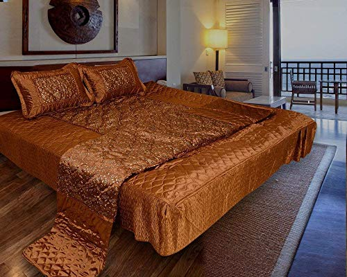 Gold Printed Satin Double Bed Bedding Set (Set of 4 pcs) 1 Double Bed Bedsheet :: 2 Pillow Cover:: 1 Double Bed AC Comforter