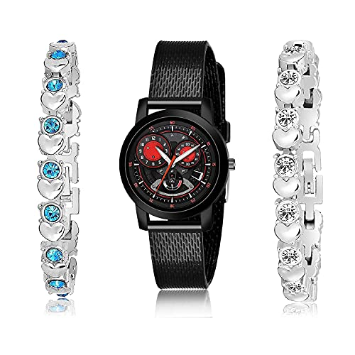TIMENTER Chronograph Bracelet and Watch Combo Analogue Black and Silver Color Dial Women Watch - (37-L-10)-GX3-GX12 (Pack of 3)