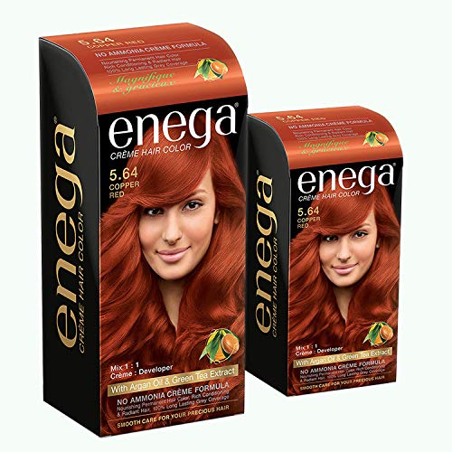 Enega Cream Hair Color with Argan Oil & Green Tea Extract No Ammonia Cream Formula Smooth Care For Your Precious Hair! Copper Red (Pack Of 2,120ML+40ML)