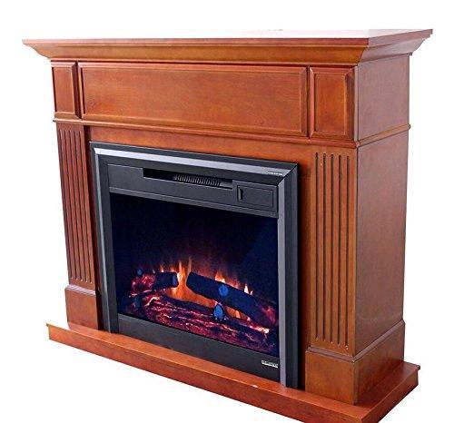 Flamex Freestanding Wood Finish Electric Fireplace Heater with Mantel MDF Veneer Paint (Oak)