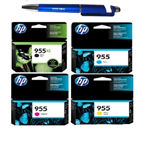 HP 955 XL Black & 955 C/M/Y Combo Set of 4 (955XL & 955) Bundle with ITGLOBAL 3 in 1 Multi-Function Anti-Metal Texture Rotating Ballpoint Pen, Creative Mobile Phone Stand, Stylus Pen (Very Colors)