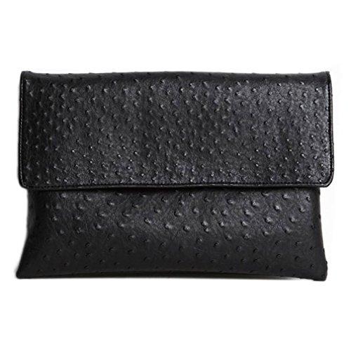 C'est Moi Men's Messager Bag Envelope Clutch Shoulder Bag Ostrich Style Ipad Cowhide one Size Black