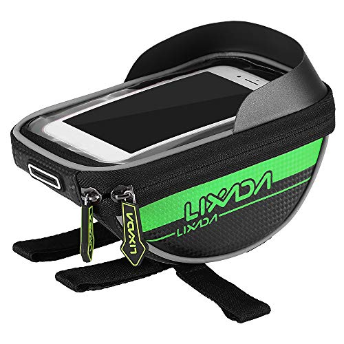 Decdeal Cycling Bike Bicycle Bag Top Tube Handlebar Bag Touchscreen Cell Phone Mount Holder MTB Road Bike Bicycle Front Frame Bag