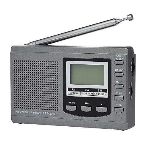 Docooler FM/AM/SW Radio Multiband Digital Stereo Radio Receiver Earphone Output Time Display Alarm Clock External Rotatable Antenna