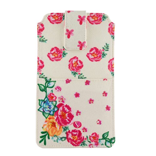 pinaken women and girls canvas smartphone cover (floral delights)