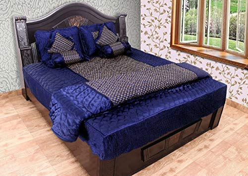 Zylish Silk Bedding Set with 1 Bedsheet, 2 Pillow Cover, 2 Filled Cushion, 2 Filled Bolsters, 1 AC Comforter (King Size, Blue)