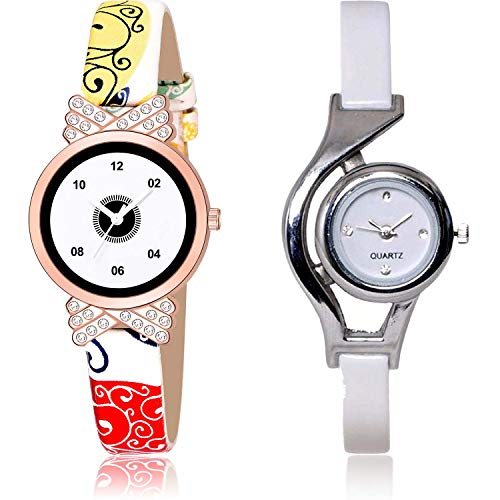 NEUTRON Love Heart and World Cup Analog White Color Dial Women Watch - G470-G6 (Pack of 2)
