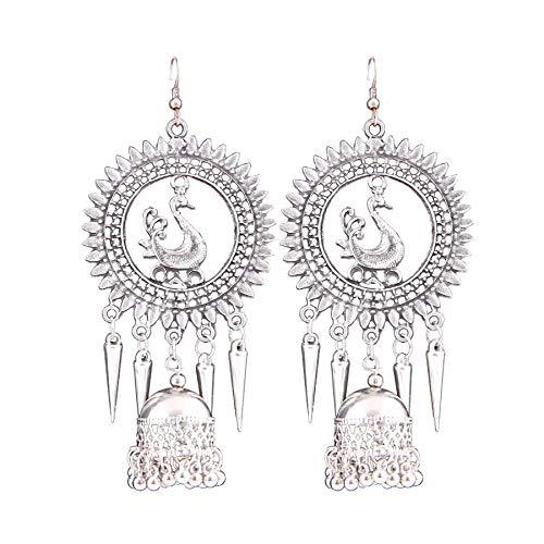 Generic Women's Silver Oxidized Hook Dangler Hanging Afgani Tribal Fancy Earrings-Silver-PID27074
