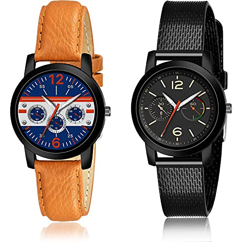 GROOT Italian Designer Analogue Blue and Black Color Dial Women Watch - (18-L-1)-(64-L-10) (Pack of 2)