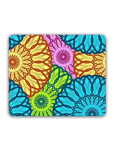 Madanyu Designer Mousepad Non-Slip Rubber Base for Gamers - HD Print - Colored Mandala