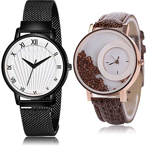 TIMENTER Magnet and Movable Dimond Analog White Color Dial Girls Watch - G514-G179 (Pack of 2)