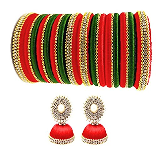 thread trends Silk Red and Green Bangles with Earing Set for Women (Size-2/4)